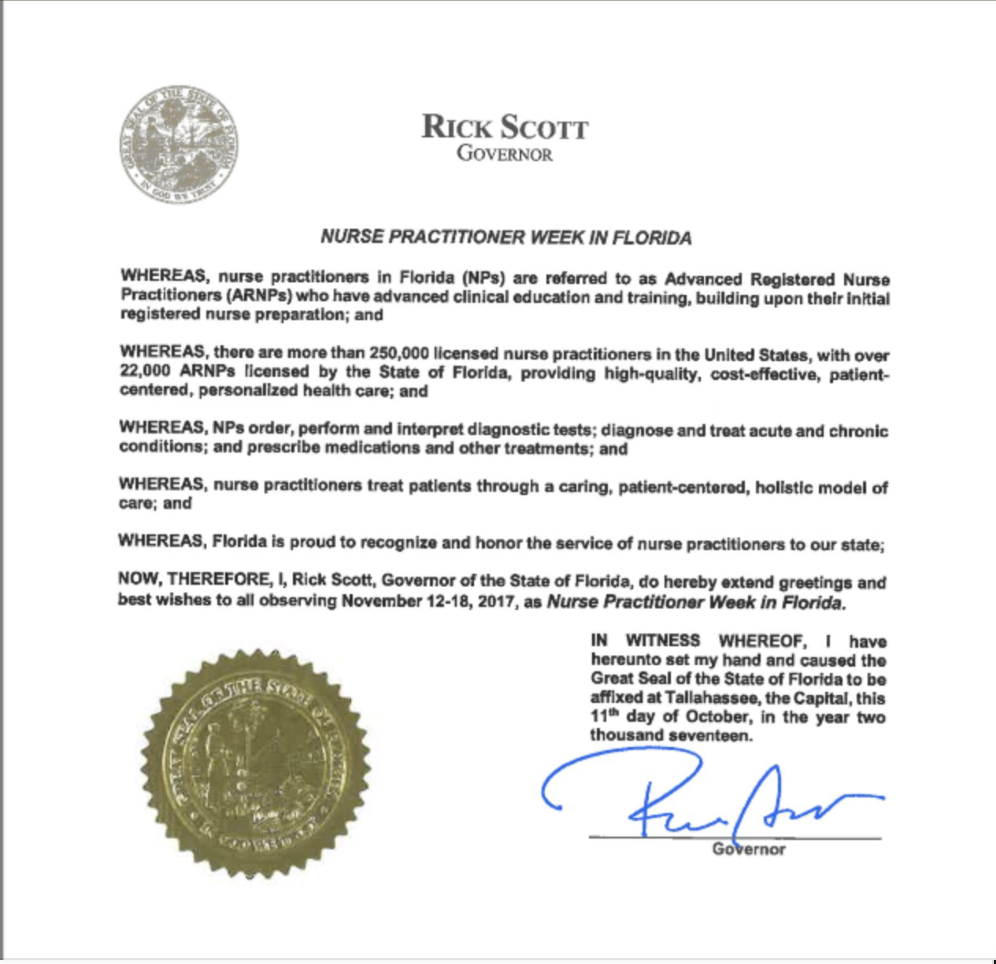 Nurse Practitioner Week Florida Governor Rick Scott commemorated the work of Nurse Practitioners